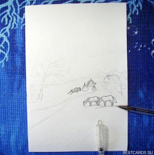 Черной гелевой ручкой обрисовуем контуры объектов пейзажа