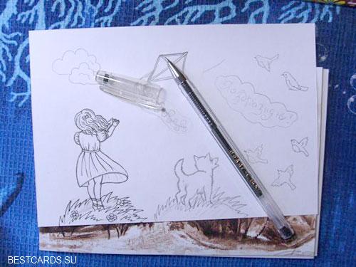 Черной гелевой ручкой обводим контуры рисунков
