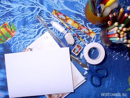 Материалы для изготовления рисованной открытки с объемными элементами
