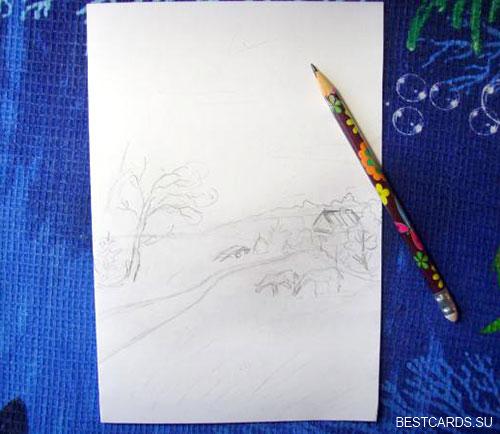 Набрасываем пейзаж простым карандашом