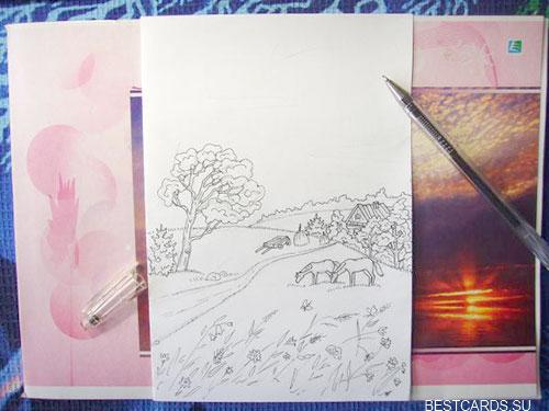 Обрисованный черной гелевой ручкой пейзаж