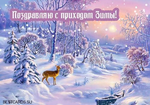 """Открытка """"Поздравляю с приходом зимы!"""""""