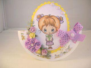 Открытка с цветами и бантиками для девочки