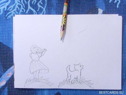 Рисуем фигуру девочки и собачку