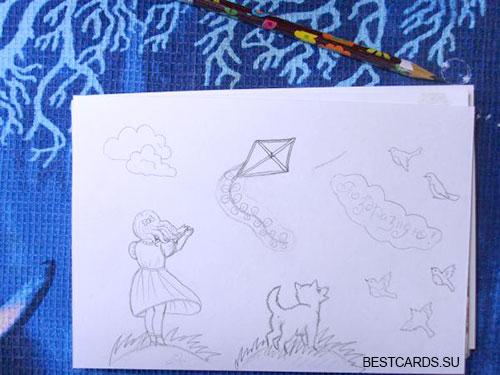 """Рисуем облако, надпись """"Поздравляю"""", воздушного змея, птичек"""