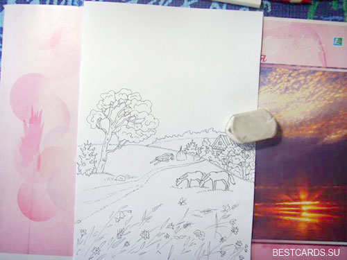 Стираем карандашные линии с заготовки с пейзажем